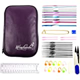"""Wisehands Crochet Hook Set with 22 Pcs Hooks, Scissors, Stitch Markers, Gauge Measure, Yarn Needles, 4.5"""" Safety Pin and 2 Row Counters in a Purple Case"""