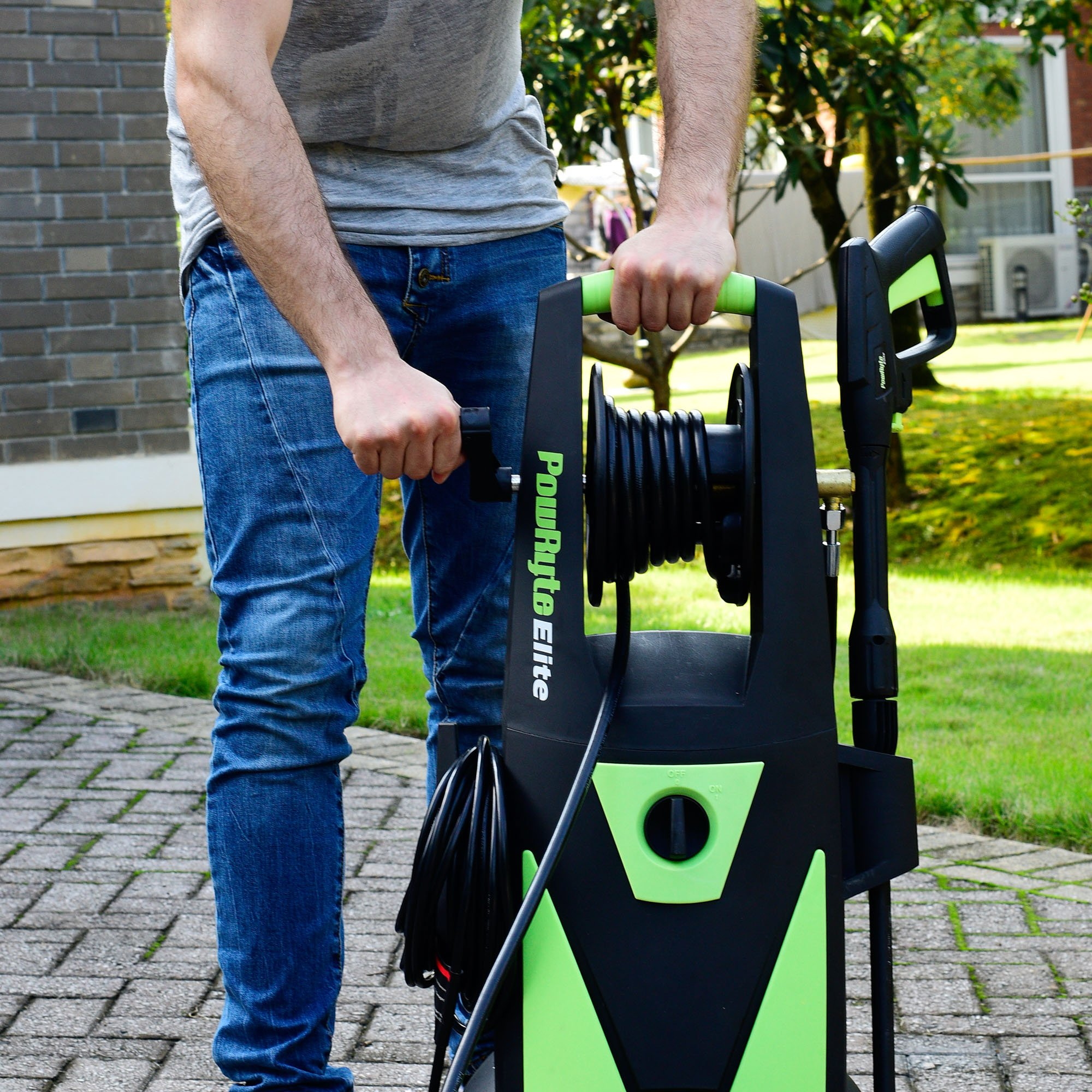 PowRyte Elite Electric Pressure Washer, 2200PSI 2.0GPM Power Washer with Hose Reel, Extra Turbo Nozzle, Induction Motor by PowRyte (Image #7)