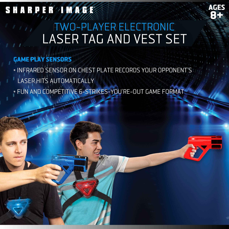 SHARPER IMAGE Two-Player Toy Laser Tag Gun Blaster & Vest Armor Set for Kids, Safe for Children and Adults, Indoor & Outdoor Battle Games, Combine Multiple Sets for Multiplayer Free-for-All! by Sharper Image (Image #2)