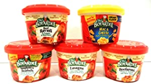 Chef Boyardee Microwavable Bowls ULTIMATE VARIETY 10 PACK: (2 of Each Flavor) Beef Ravioli, Mac & Cheese, Spaghetti & Meatballs, Lasagna, Beefaroni + FREE Set of Heavy Duty Plastic Utensils.