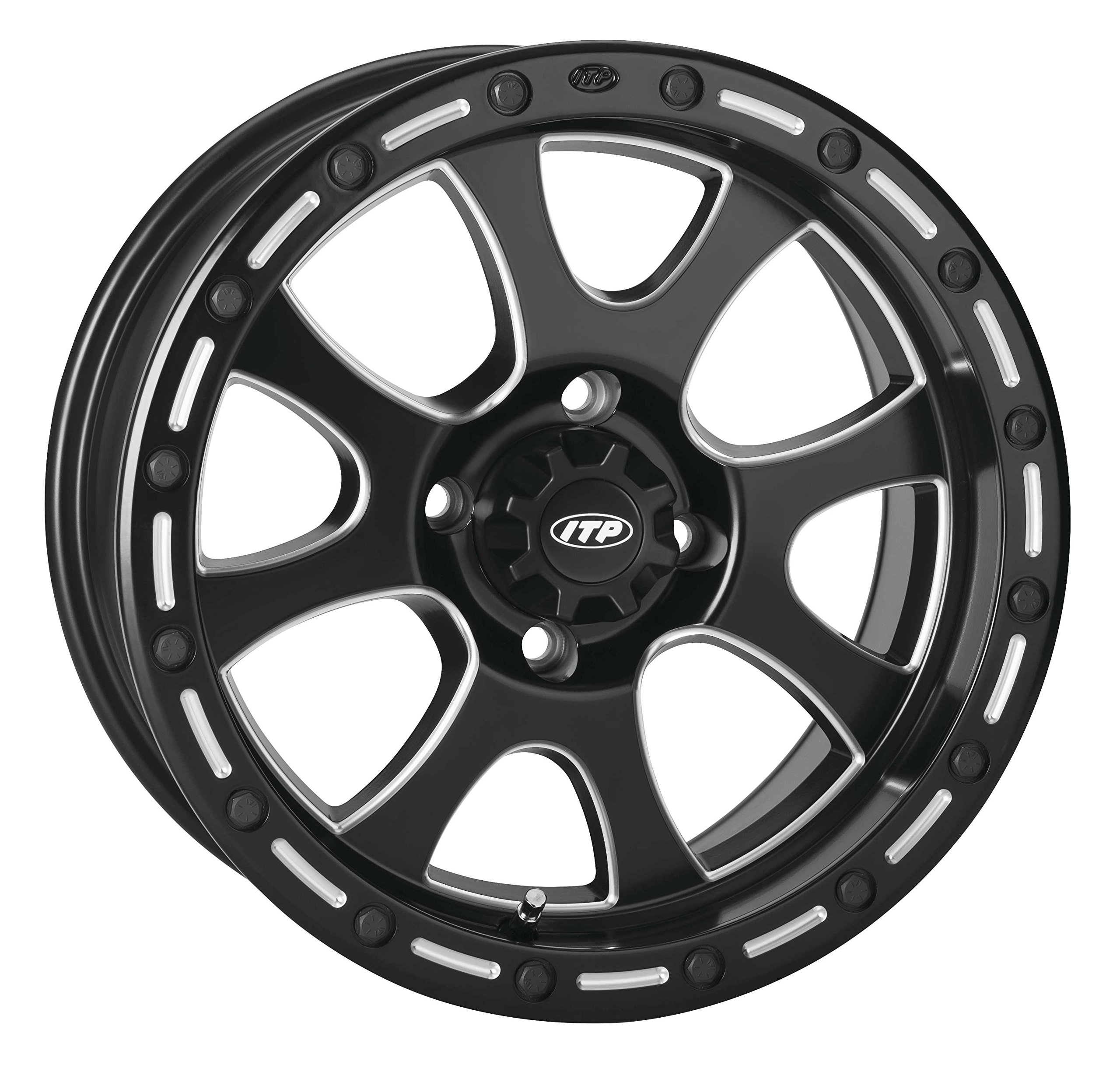 ITP 14TS110BX Tsunami Simulated Bead Lock Wheel - 14x7 - 5+2 - 4/110, Bolt Pattern: 4/110, Rim Offset: 5+2, Wheel Rim Size: 14x7, Color: Black/Machined, Position: Front/Rear