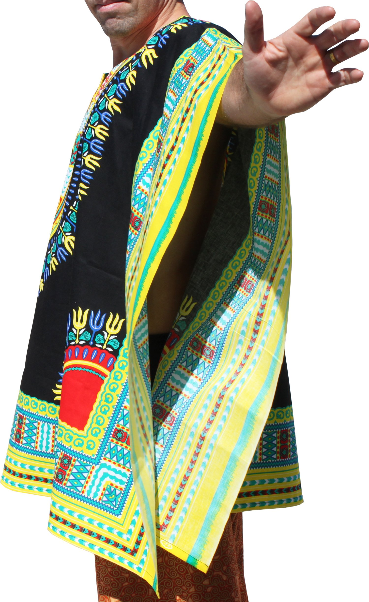 RaanPahMuang Brand Throw Over Poncho Top (Fully Open Sides) African Dashiki Art, Black With Yellow Multi by RaanPahMuang (Image #1)