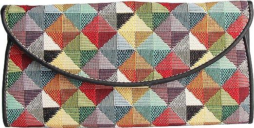 Signare Tapiz porta tarjetas identificativas carteras de mujer con diseño de patrón de moda (Colorido geométrico)