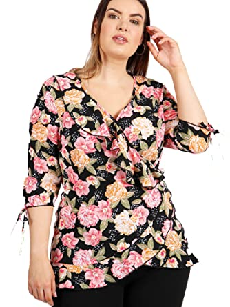 d91638081e Lovedrobe GB Women s Plus Size Black Floral Print Wrap Top (20 ...