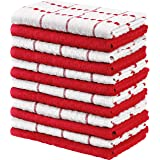 Utopia Towels Kitchen Towels, 15 x 25 Inches, 100% Ring Spun Cotton Super Soft and Absorbent Red Dish Towels, Tea Towels and