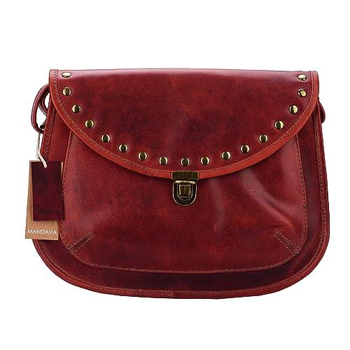 1474a24fea46 MANDAVA Handmade Vintage Style Genuine RED Full Grain Oily Leather Women's  Cross Body Shoulder Bag Ladies Satchel Bag Purse DIW753