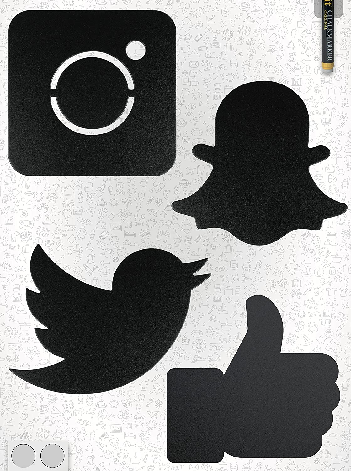 Scribble Wall Mounted Social Media Chalkboards Pack of 4