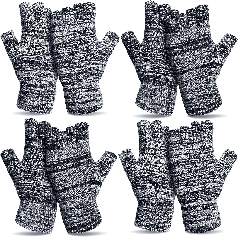 4 Pairs Warm Half Finger Gloves Winter Fingerless Gloves Stretchy Knit Gloves for Men Women
