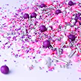 Electric Love| Hot Pink Purple White Ladies Valentine's Day Princess Colorful Candy Sprinkles Mix For Baking Edible Cake Deco