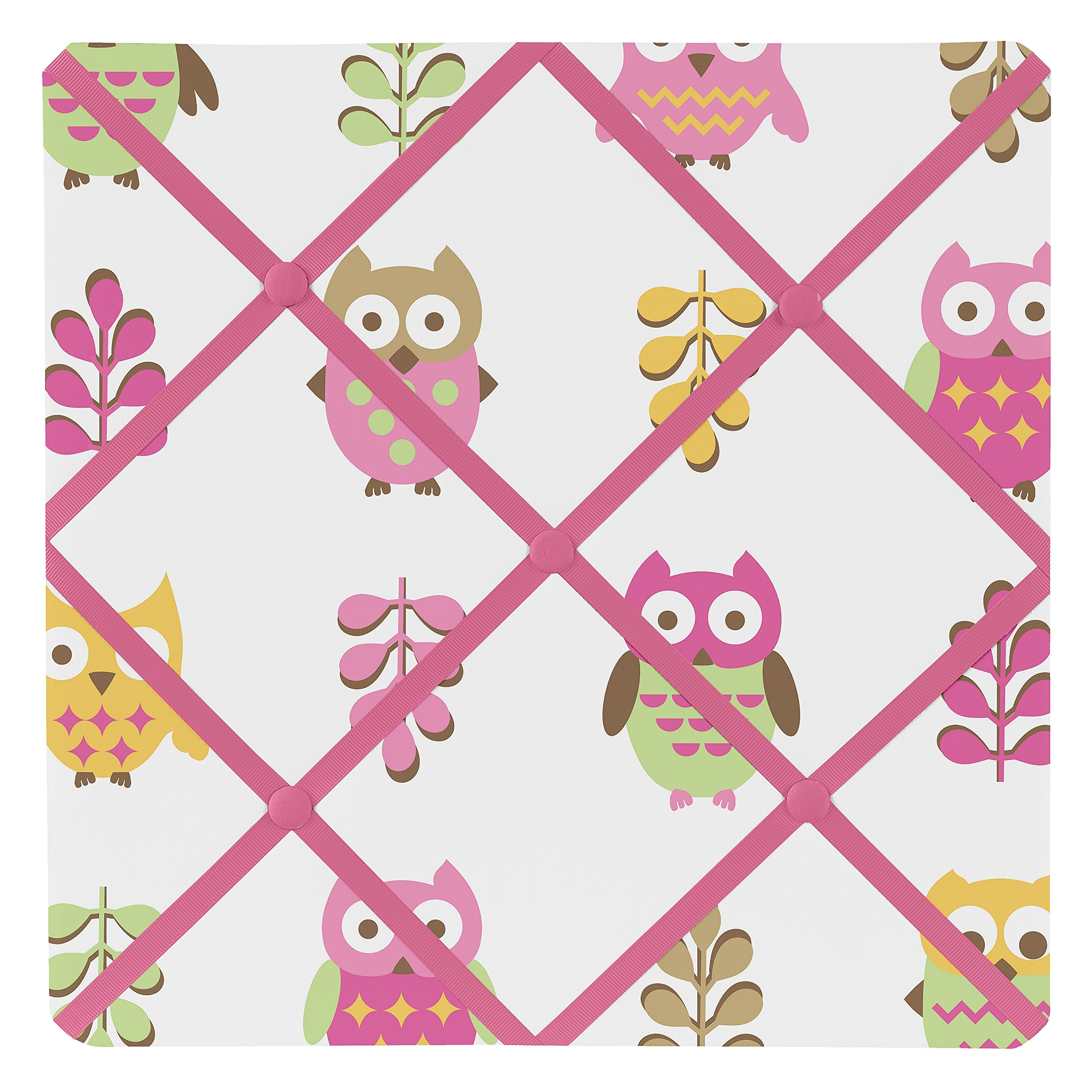 Sweet Jojo Designs Pink Happy Owl Fabric Memory/Memo Photo Bulletin Board