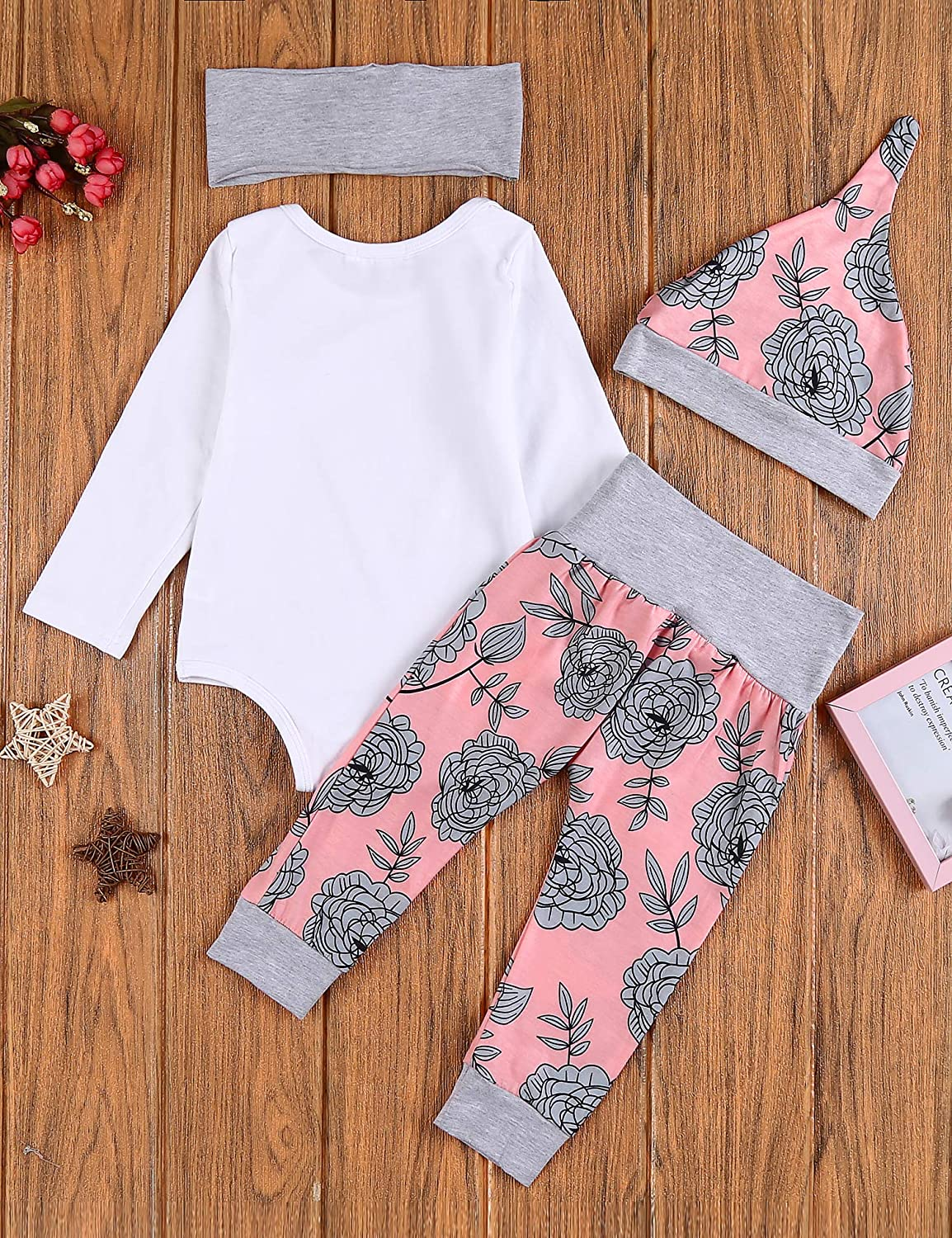 Arshiner Newborn Baby Girls Clothes 4PCS Romper Infant Outfits Sets Onsies Tops Pants with Hats and Headband