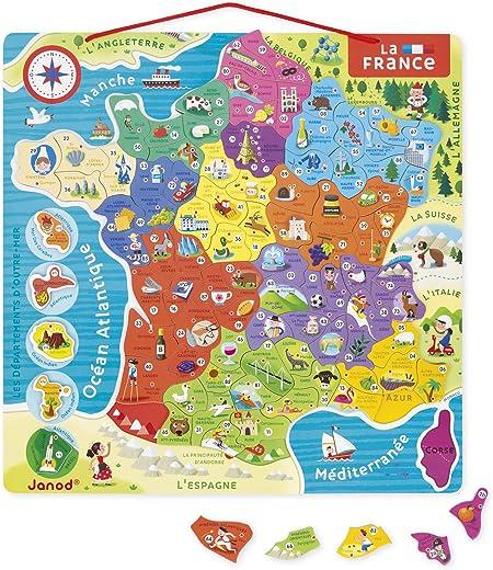 Janod Puzle magnético Mapa de Francia (j05480), Multicolor ...