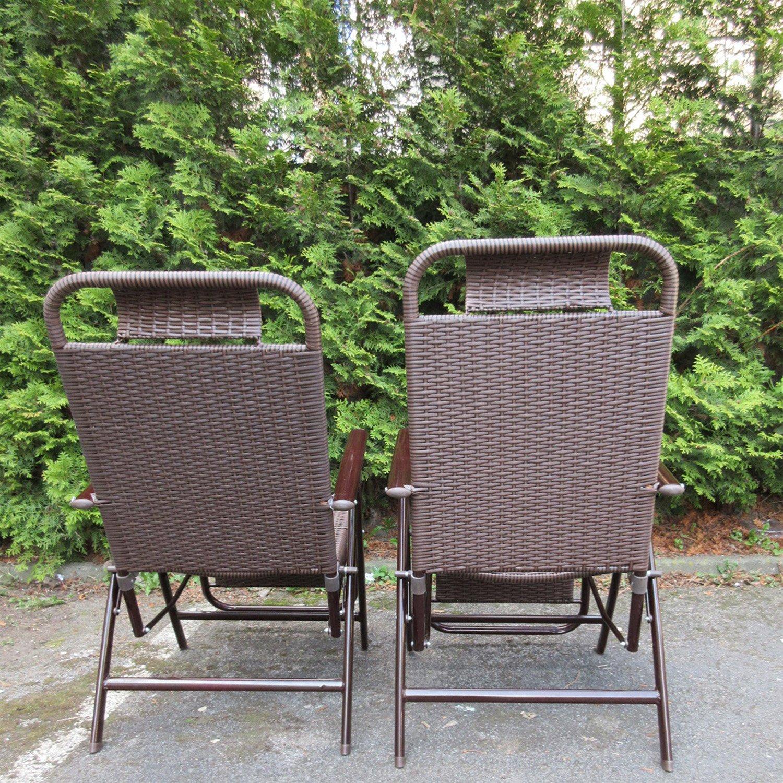 Set di se a sdraio in Polyrattan e alluminio con poggiapiedi ideale per il giardino 2 pezzi Amazon Giardino e giardinaggio