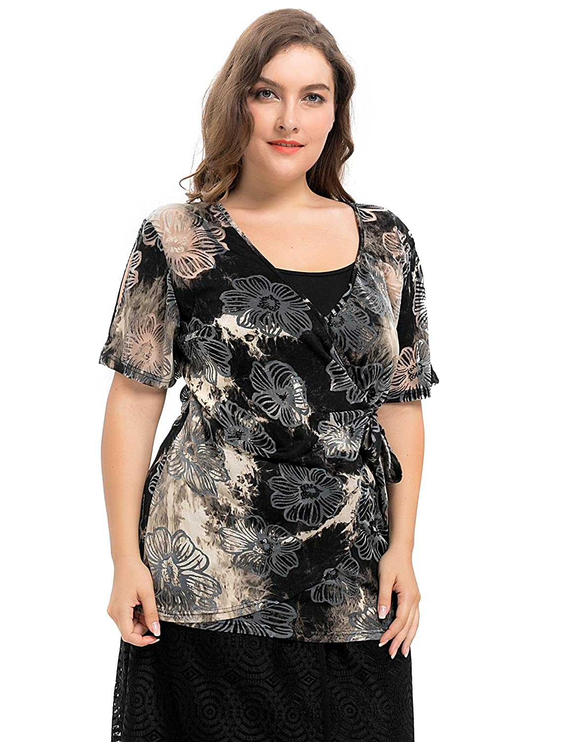 5c802efd09e09 Chicwe Women s Plus Size Tie Dyed Floral Printed Jersey Wrap Top with  Adjustable Camisole 1X at Amazon Women s Clothing store