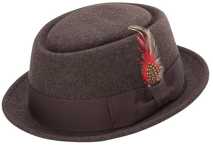 9fdea5eb155 MONTIQUE Soft Rabbit Wool Snap Brim Pork Pie Teardrop Dent Hat H-52 ...