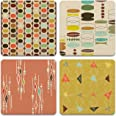 """CoasterStone Absorbent Coasters, 4-1/4-Inch, """"Retro Modern"""", Set of 4"""