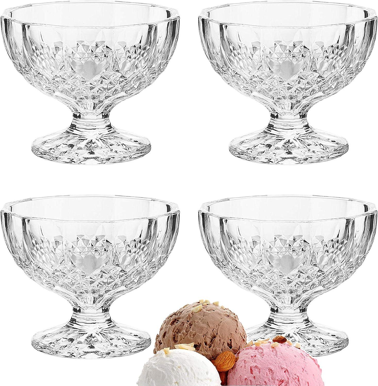 Dessert Ice Cream Cups Mini Truffle Bowls, Salad Fruit Dish Crystal Style Glass - Lead (Pb) Free (4)