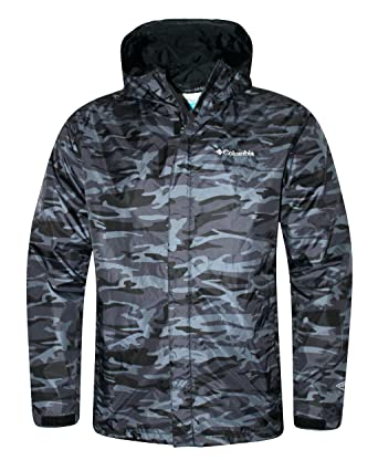 4163226e34bd Columbia Men s Timber Pointe Printed Camo Omni Tech Rain Hooded Waterproof  Jacket (LARGE)