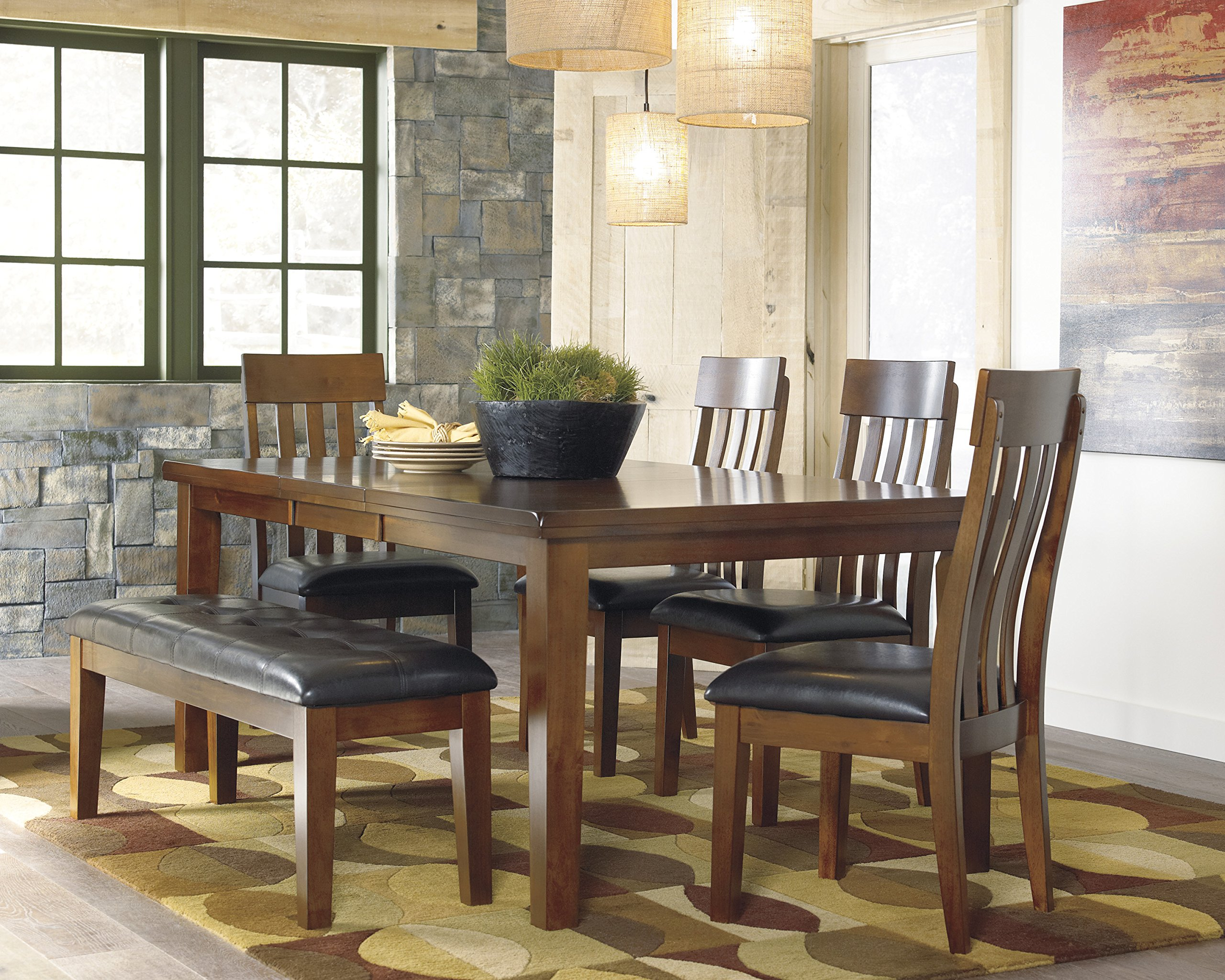 Ralerrine Medium Brown Formal Dining Set, Butterfly leaf Table and 4 Upholstered Side Chair, Bench - Made with select acacia veneers and hardwood solids Table design with thick-look tops and butterfly leaf Seat covers in brown faux leather - kitchen-dining-room-furniture, kitchen-dining-room, dining-sets - 91wKvbeZwGL -