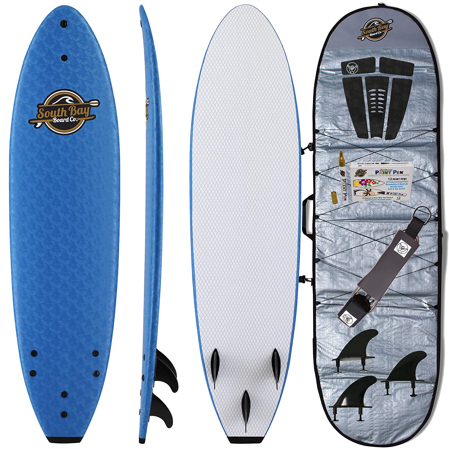 Soft Top Surfboard + Bag Package - Best Foam Surf Board for Beginners, Kids, and Adults