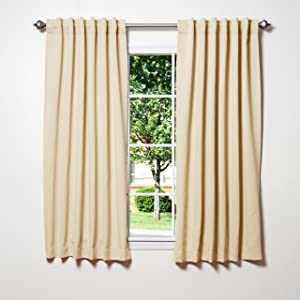 "Best Home Fashion Thermal Insulated Blackout Curtains - Back Tab/ Rod Pocket - Beige - 52""W x 54""L - (Set of 2 Panels)"
