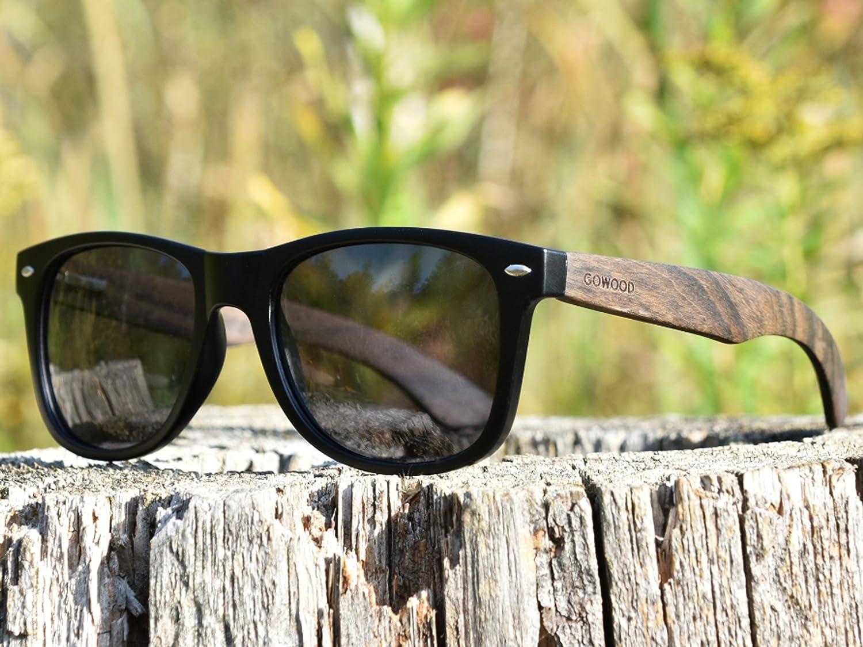 Ebony Wood Sunglasses For Men /& Women with Polarized Lenses