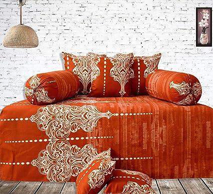 Salona Bichona Home & Fashion Floral Diwan Set 8 Pcs (Orange)