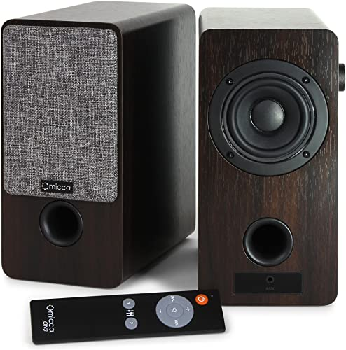 Micca ON3 3-Inch Powered Bookshelf Speakers with Remote Control, 48 Watts 24W x 2 RMS Power, Front and Rear Input Jacks