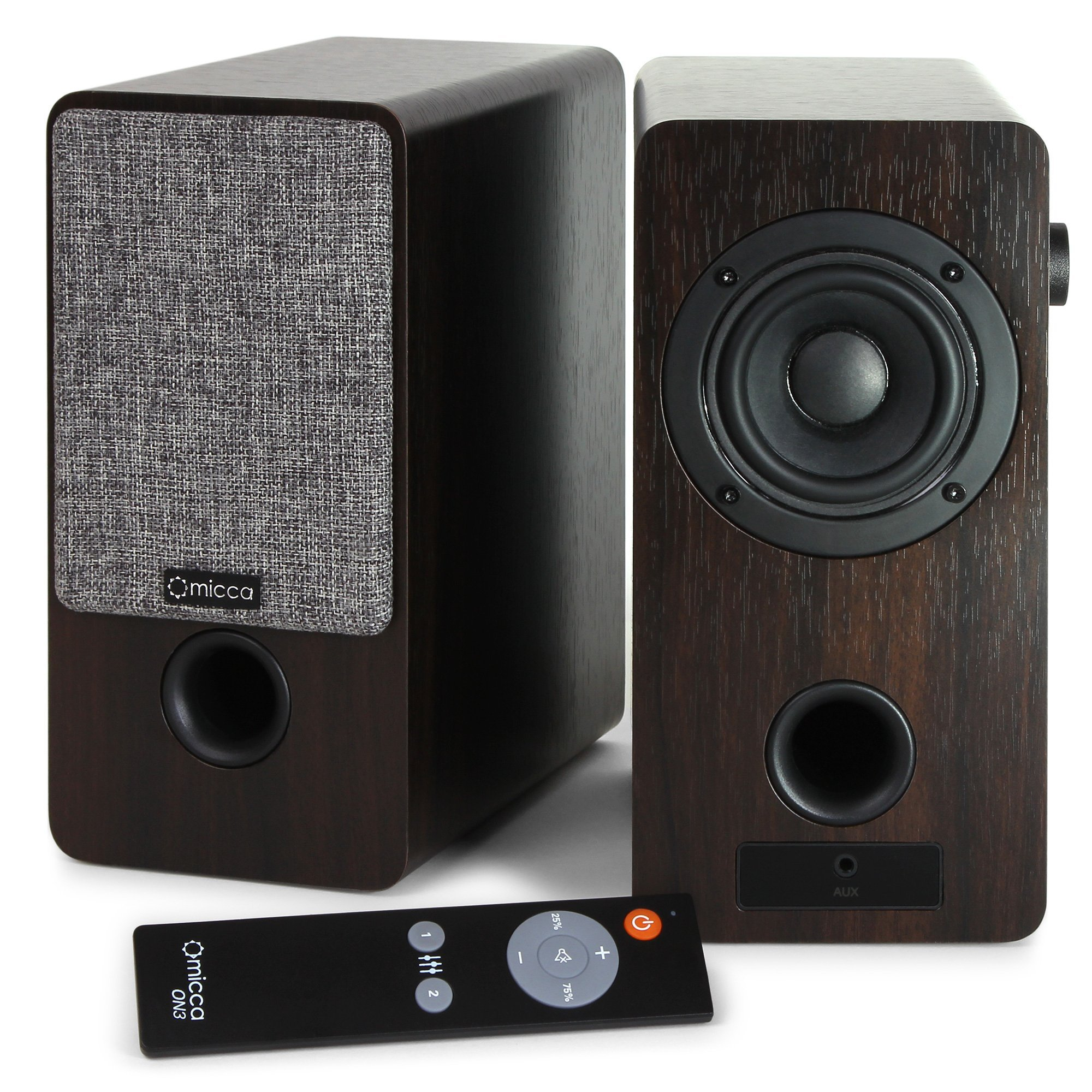 Micca ON3 3-Inch Powered Bookshelf Speakers with Remote Control, 48 Watts (24W x 2) RMS Power, Front and Rear Input Jacks
