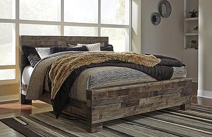 Amazoncom Derek Contemporary Multi Gray Color Wood King Panel Bed