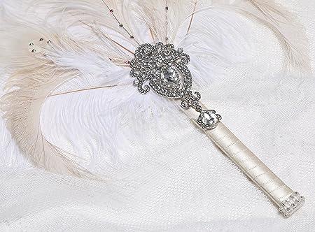 BABEYOND Vintage Bridal Feather Bouquet 1920s Ostrich Feather Fan Crystal Bridesmaid Bouquet 20s Gatsby Wedding Bouquet Flapper Accessories: Amazon.co.uk: ...