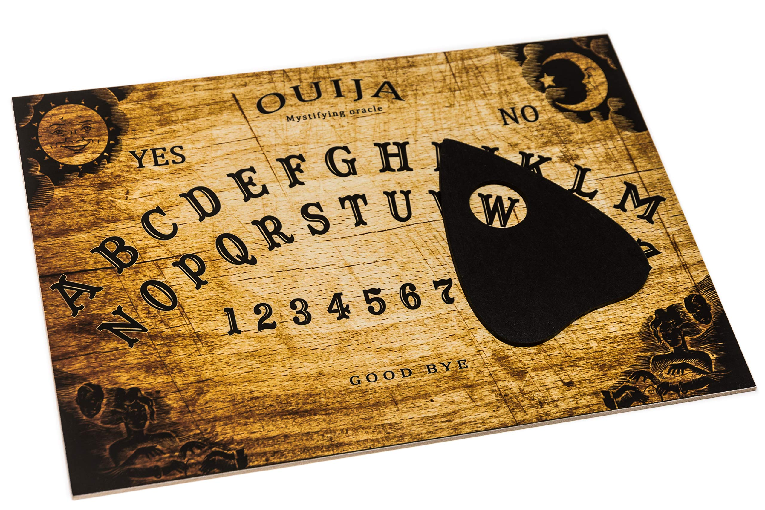 WICCSTAR Classic Ouija Spirit hunt Board game with Planchette and detailed instruction.