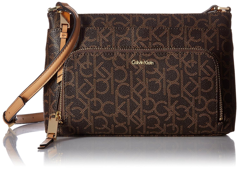 Calvin Klein Key Item MonogramマルチエントリCrossbody B06WGR8726Brown Khk/Camel