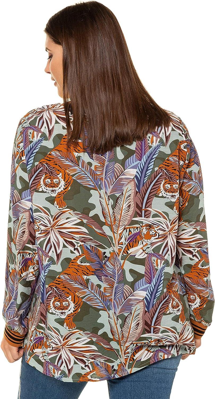 Studio Untold Womens Plus Size Jungle Leaves Hidden Tiger Blouse 722600