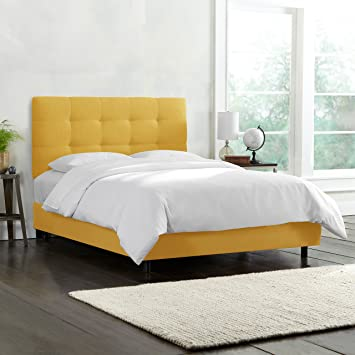 Amazon.com: Skyline Furniture Tufted Bed, Queen, Linen French Yellow ...