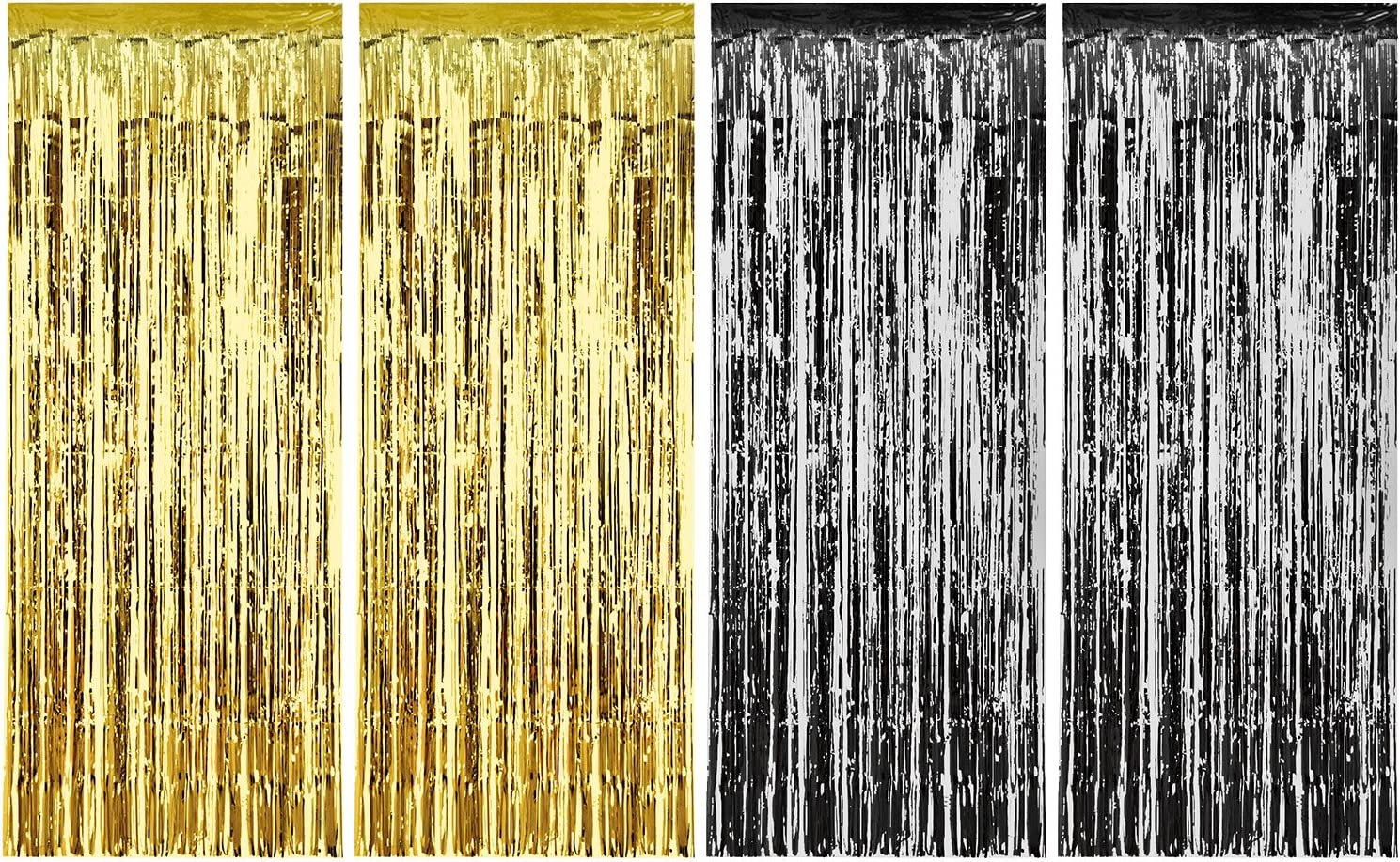 Blue Sumind 4 Pack Foil Curtains Metallic Fringe Curtains Shimmer Curtain for Birthday Wedding Party Christmas Decorations