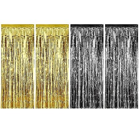 4 Piezas de Cortina de Oropel Metálica Cortina Brillante de Borlas de Lamina para Decoración de Cumpleaños Navidad Fiesta de Boda (Dorado y Negro)