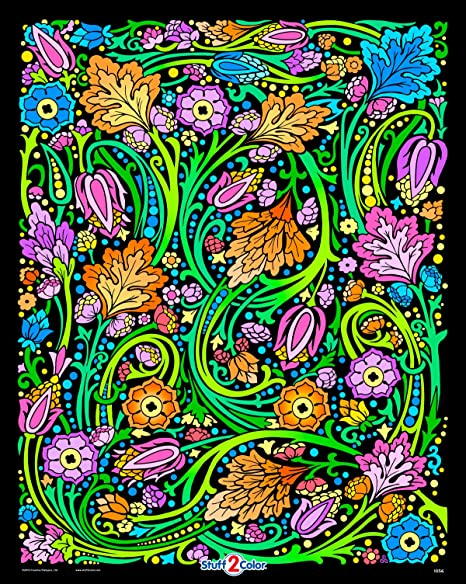 Amazon.com: Floral Mania Fuzzy Velvet Coloring Poster - For Kids, Toddlers,  And Adults - Family Coloring Or Group Arts And Craft Project For All Ages  (Arrives Uncolored): Prints: Posters & Prints
