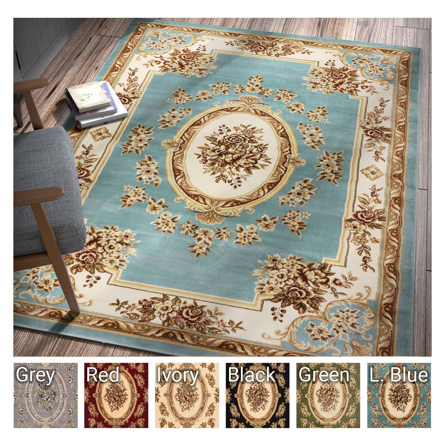 Pastoral Medallion Light Blue French European Formal Traditional 5x7 (5'3'' x 7'3'') Area Rug Easy to Clean Stain / Fade Resistant Modern Contemporary Floral Thick Soft Plush Living Dining Room Rug by Well Woven