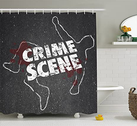 Murder Scene Shower Curtain By Crime Words On Outline Of Victim Homicide Bloody Killing
