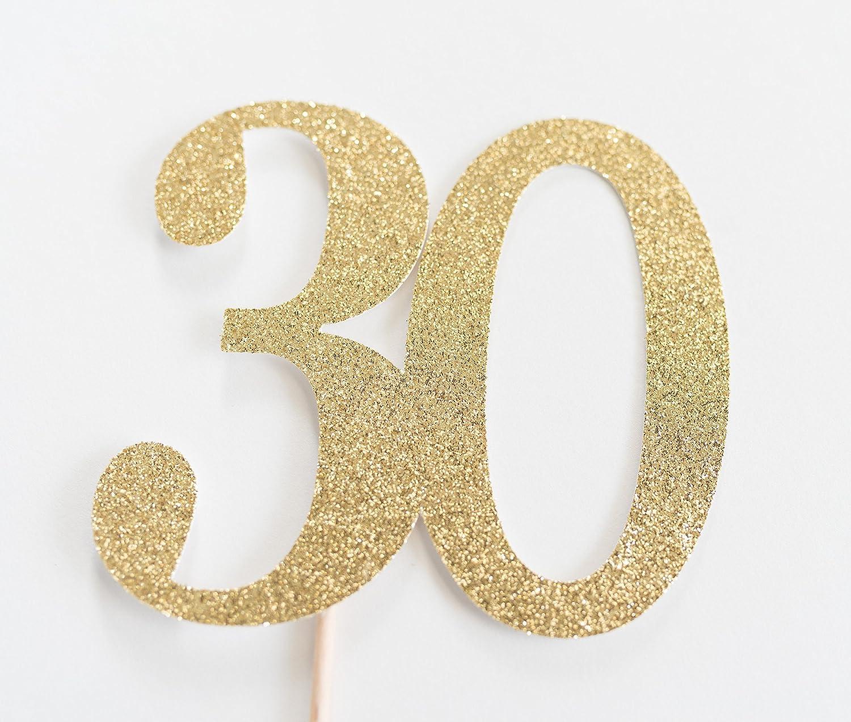 Gold Glitter 30 Cake Topper, 30th Anniversary, thirtieth Birthday, thirty