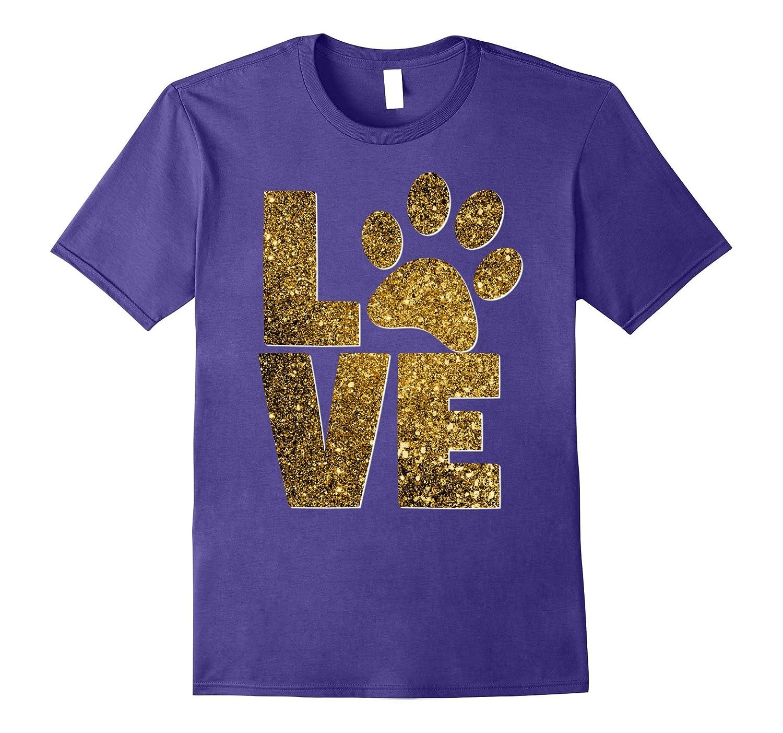 Animal Lover Dog Cat Paw Pet Rescue Best Friend Gold Glitter-Awarplus
