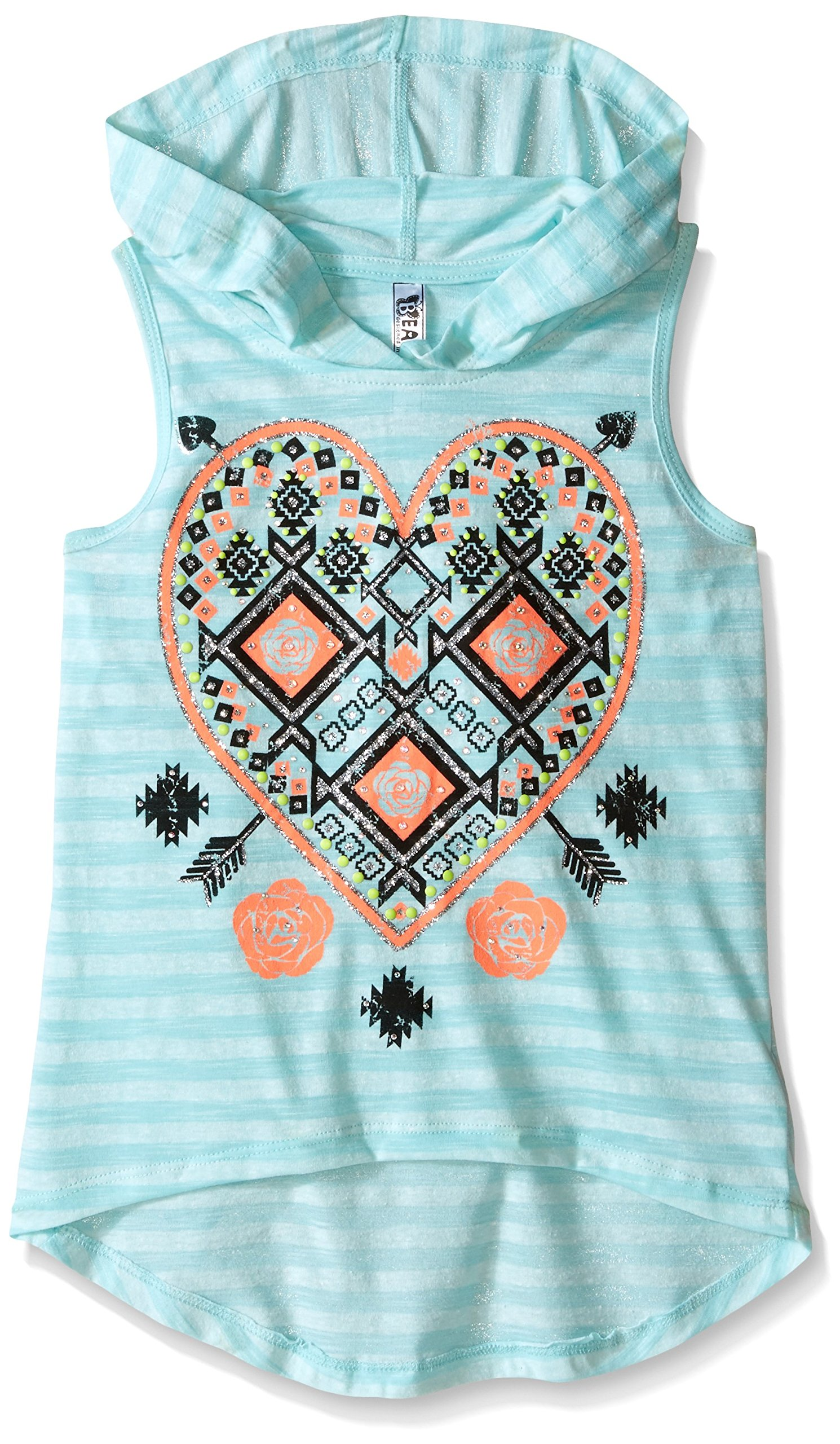 Beautees Big Girls' Sleeveless Love More Screen Hoodie with Necklace and Lace Back, Aqua, Small
