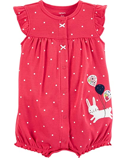 Carter's Baby Girls' Ground Rainbow Snap Up Cotton Romper (Newborn, Balloon Bunny)