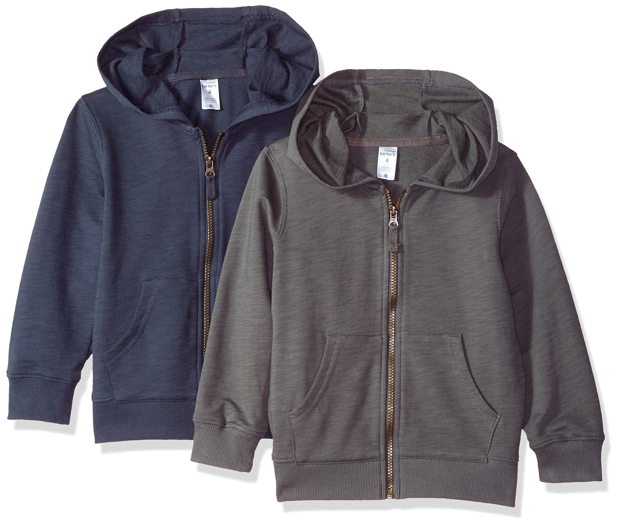 Carter's Big Boys' 2-Pack Full Zip Hoodie, Grey/Navy, 5