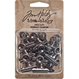 Tim Holtz Idea-ology Hinge Clips 15-Pack, Approx. 1 x 1 Inch Each, Antique Satin Nickel (TH92692)