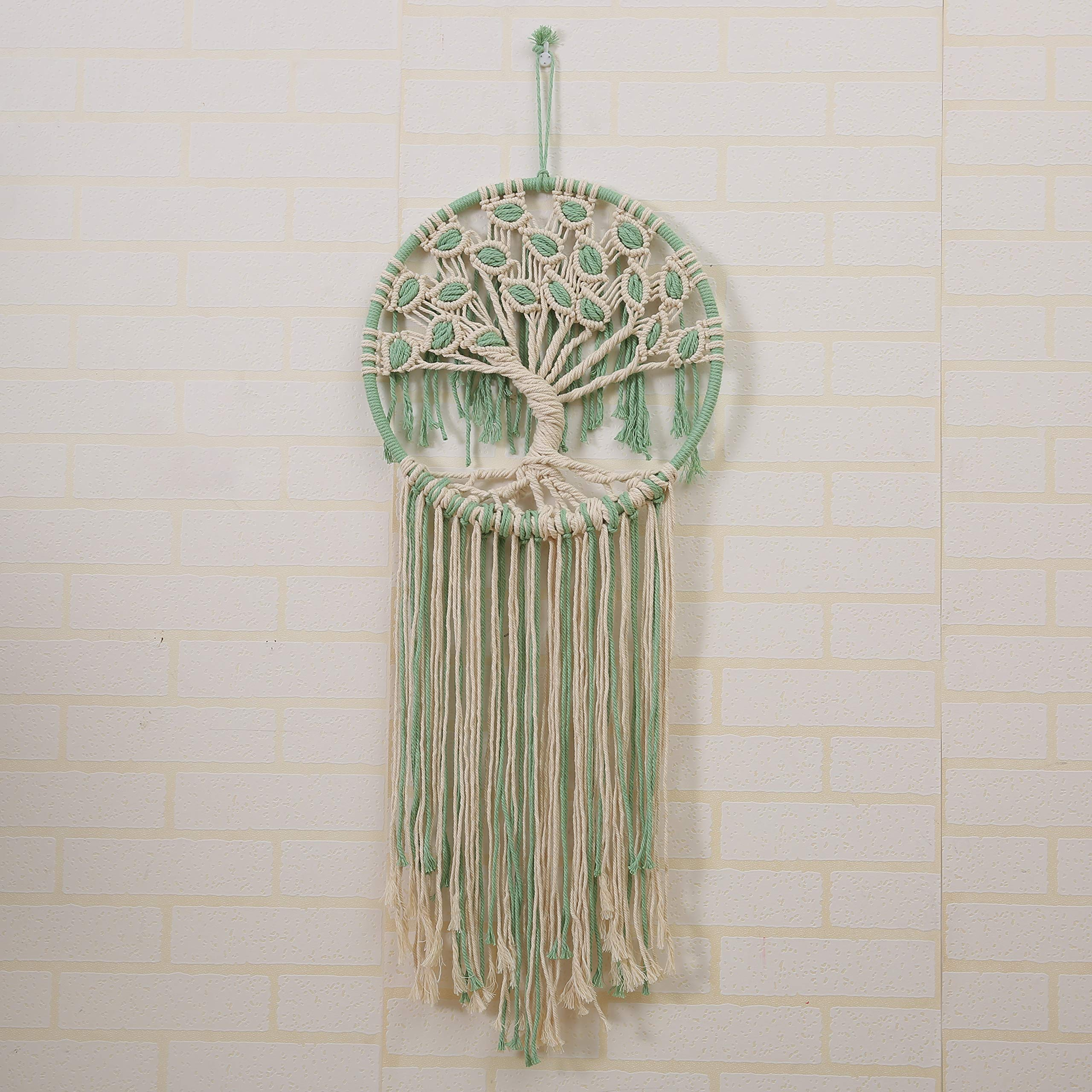 laddawan Macrame Wall Hanging Green and White Tree of Life Wall Art Decoration Home Decor Dream Catcher (X-Large) by laddawan