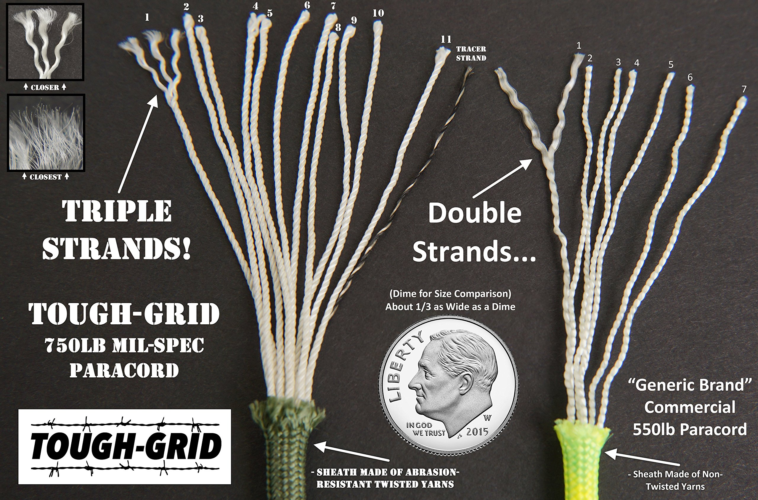 TOUGH-GRID 750lb Buckskin (Desert Sand) Paracord/Parachute Cord - Genuine Mil Spec Type IV 750lb Paracord Used by The US Military (MIl-C-5040-H) - 100% Nylon - Made in The USA. 200Ft. - Buckskin by TOUGH-GRID (Image #4)
