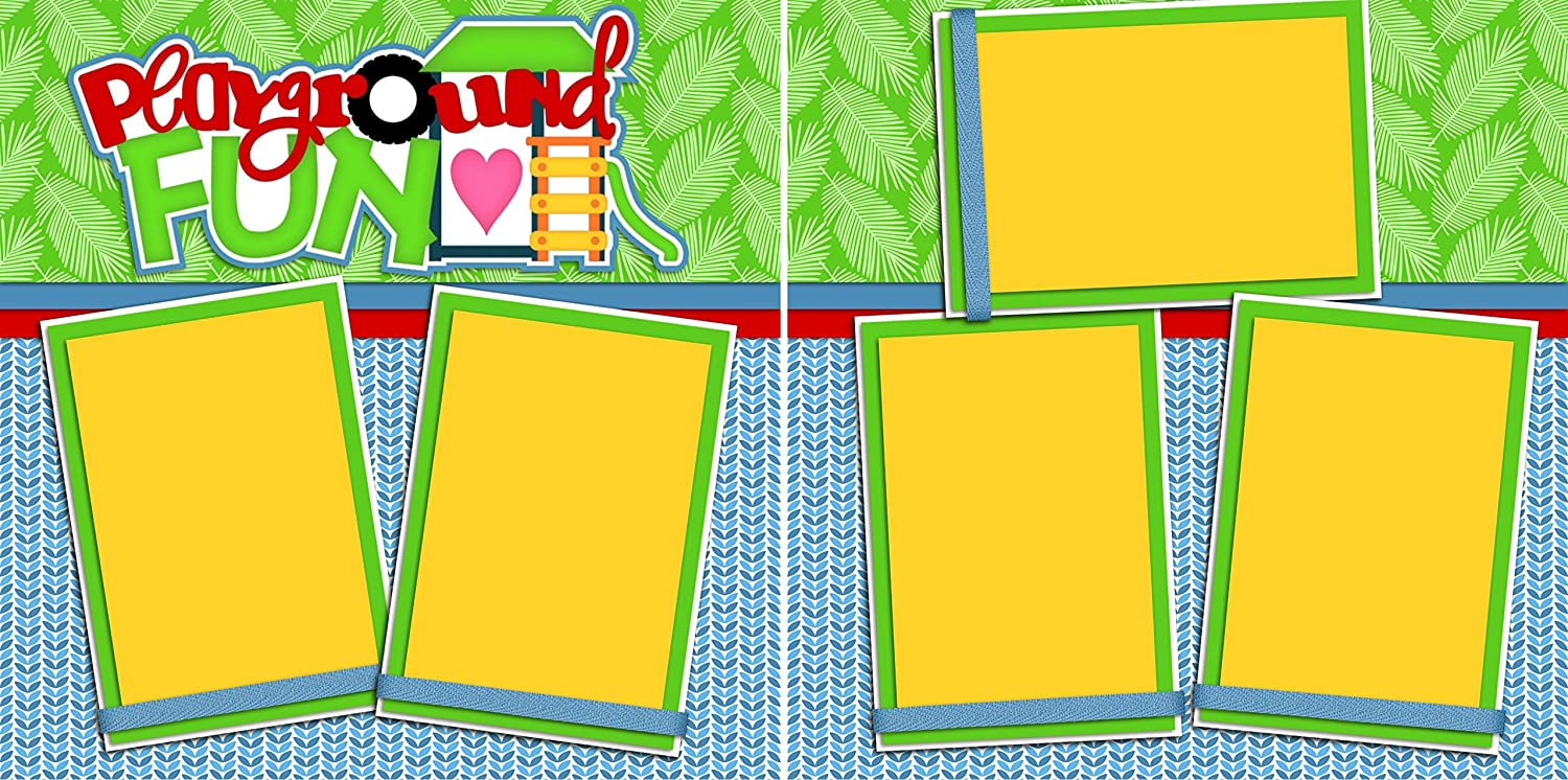 5 Double Page Layouts PLAYTIME GIRL Scrapbook Set