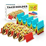GINKGO Taco Holder Stand Set of 6 - Taco Truck Tray Style Rack, Holds Up to 4 Tacos Each, ABS Health Material Very Hard…